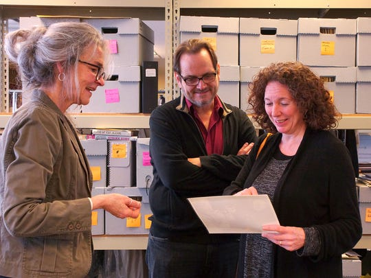 Pictured, left to right, are head archivist at the U-M Special Collections Library Kathleen Dow, Rich Guay and Nancy Savoca, during a recent visit to the U-M Special Collections Library, where the Screen Arts Makers & Mavericks Collection is held.