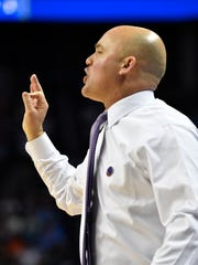 Lipscomb Head Coach Casey Alexander gives instructions