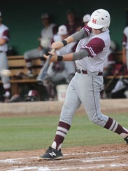 Hawley's Tate Thompson hits a two-run single in the third inning. Hawley beat Stamford 12-2 in six innings in the opener of the best-of-three Region I-2A quarterfinal baseball series May 18 at Hunter Field.