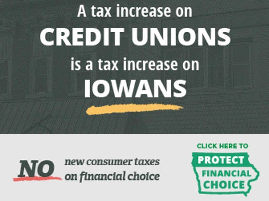 This is an ad from the Iowa Credit Union League defending their members' nonprofit status.