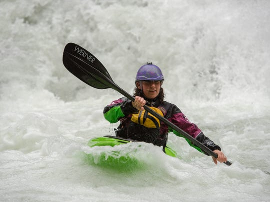 Champion freestyle whitewater kayaker Anna Levesque,