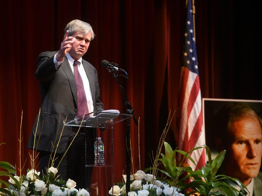 Tom Byrne shares stories about his father, former Gov. Brendan Byrne, during a memorial service for him at Paper Mill Playhouse on Monday, Jan. 8, 2018.
