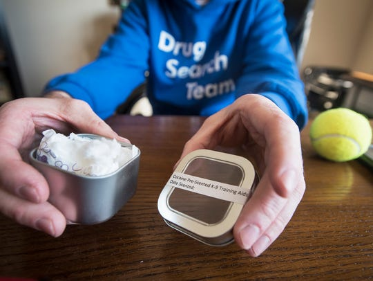 Fred Nell can not legally posses drugs, so to train Sadie, his drug sniffing dog he uses swabs that hold drug smells.