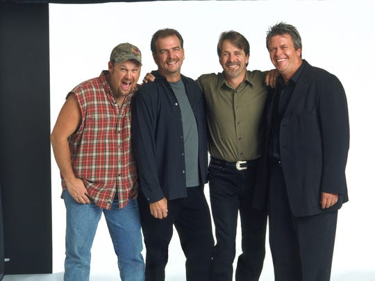 "Ron White, far right, with fellow Blue Collar comedians Larry The Cable Guy, from left, Bill Engvall and Jeff Foxworthy in a 2003 promotional photo for the feature film ""Blue Collar Comedy Tour: The Movie."""