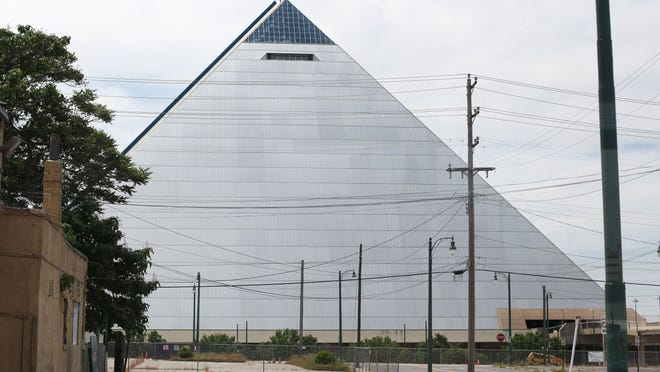 A 2013 photo of the Memphis Pyramid in Tennessee.