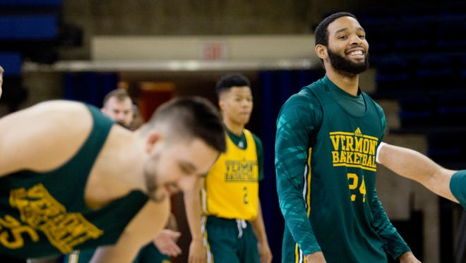 The University of Vermont men's basketball practices Tuesday afternoon at Marquette University for the first time since landing in Milwaukee for the NCAA tournament.