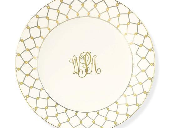 Pickard Etrusca monogrammed dinner plate