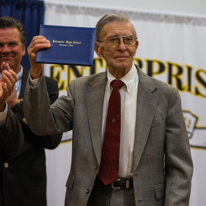 """Jay Stanford """"Stan"""" Staheli, 91, receives his high"""