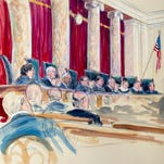 Artist rendering of Supreme Court hearing Tuesday.
