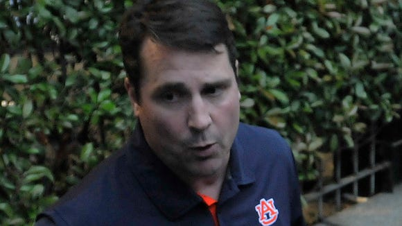 "Auburn football defensive coordinator Coach ""Boom"" Will Muschamp talks to reporters at the Montgomery Auburn Club's Boom and BBQ at the Train Shed in downtown Montgomery on Tuesday, April 28, 2015."