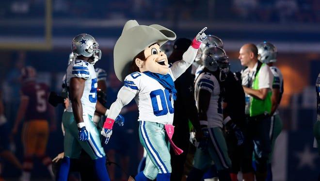 Oct 27, 2014; Arlington, TX, USA; Dallas Cowboys mascot Rowdy prior to the game against the Washington Redskins at AT&T Stadium. Mandatory Credit: Matthew Emmons-USA TODAY Sports