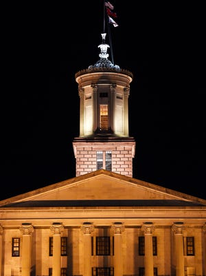 Tennessee state Capitol at nightMonday Jan. 30, 2017, in Nashville, TN