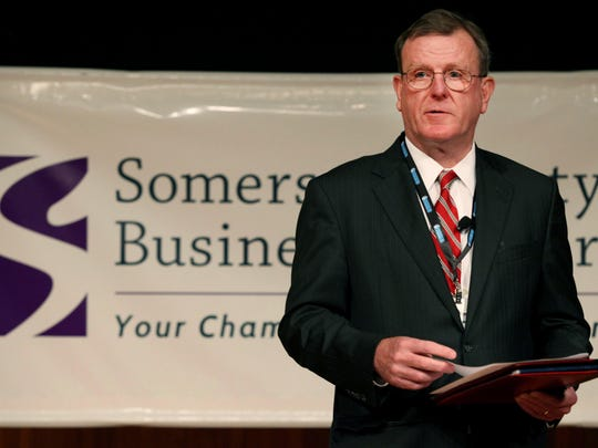 Mike Kerwin, President and CEO of the Somerset County Business Partnership, speaks during a Smart Future Conference, sponsored by Somerset County Business Partnership and held on the AT&T campus in Bedminster, October 17, 2014. Mary Iuvone/For The Courier News