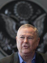 "Rep. Dana Rohrabacher, who is leading a U.S. Congressional delegation to the Russian Federation speaks during a news conference in U.S. Embassy in Moscow, Russia, Sunday, June 2, 2013. Rep. Dana Rohrabacher, a California Republican who led the six-person delegation this week, said at a press conference Sunday that there was ""nothing specific"" that could have helped April's bombings, but that the U.S. and Russia needed to work more closely on joint security threats. (AP Photo/Alexander Zemlianichenko)"