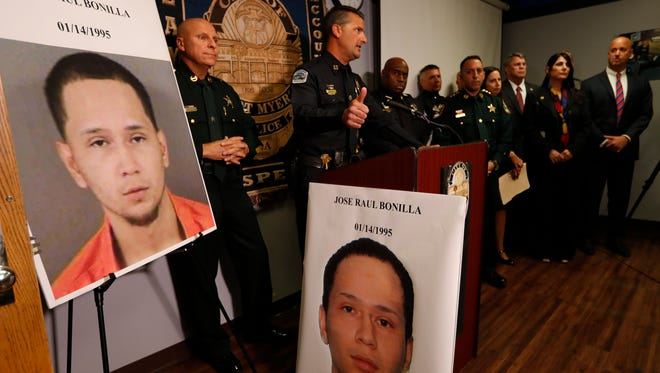 Representatives from the Fort Myers Police Department, Lee and Collier sheriff's department, along with the State Attorney's office and the FBI participated in a press conference Monday afternoon to announce the arrest of Jose Raul Bonilla in connection with the 2015 fatal Zombicon shooting.