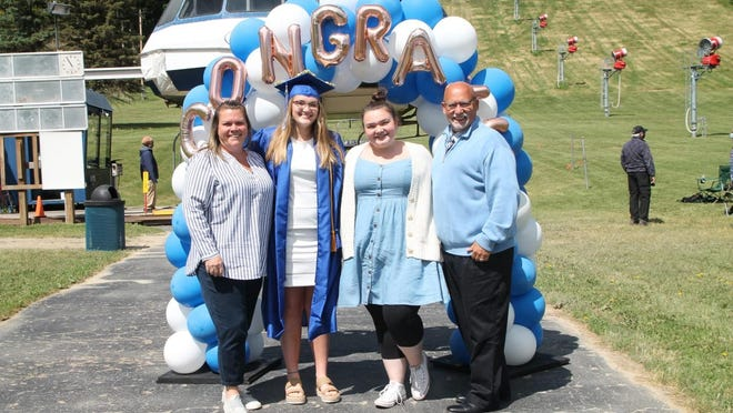 Graduates of Bloomfield High School had a different ceremony Saturday, June 13. Instead of crossing a stage, students and their families took a ski lift on Bristol Mountain.