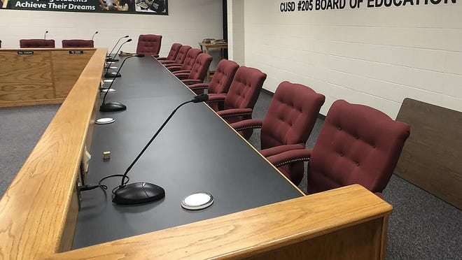 The Galesburg District 205 Board room.