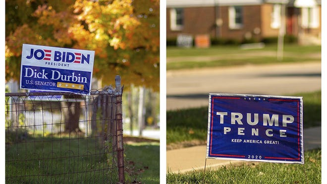 Signs for both major political parties fill yards in Galesburg. Knox County has selected a Democrat for president each election in the past 20 years except for elections in 2004 and 2016.