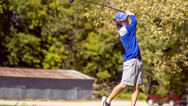 Limestone junior Tate Otten hits a drive from the first tee during the IHSA Class 2A boys golf regional on Tuesday, Oct. 6, 2020 at Gibson Woods in Monmouth. Otten advanced to the sectional level as an individual.