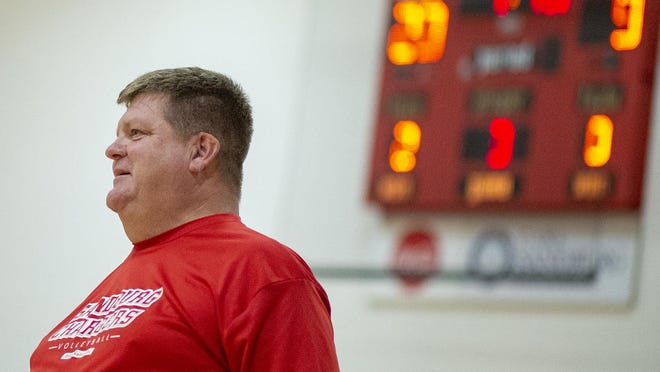 Carl Sandburg College volleyball coach Todd Winkler displays glee in an Arrowhead Conference match against Black Hawk on Oct. 1, 2019, at John M. Lewis Gym. All of the Chargers' close-contact fall sports have been shifted to the spring semester due to COVID-19.