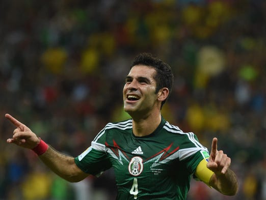 Mexico's defender Rafael Marquez celebrates after scoring against Croatia at the Pernambuco Arena in Recife during the 2014 FIFA World Cup on June 23, 2014.
