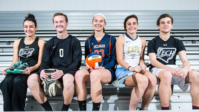 The Delmarva Media Group's top Lower Sussex athletes of the fall: Sussex Tech cross country runner Roxanne Ramirez, Indian River goalkeeper Ian Walls, Delmar volleyball hitter Carly Covington, Cape Henlopen field hockey midfielder Tess Bernheimer and Sussex Tech cross country runner Ben Bamforth. Not pictured: Sussex Central football running back KiAnte Sturgis.