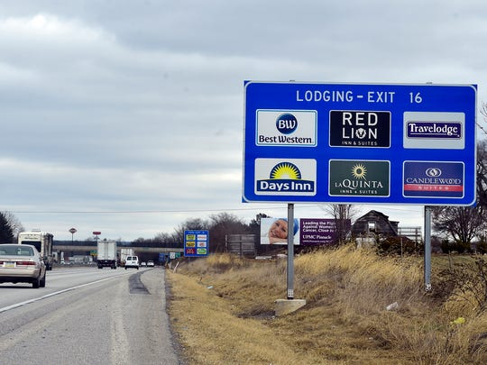 Chambersburg hotel offerings are seen on a sign along Interstate 81 on Wednesday,  January 24, 2018.
