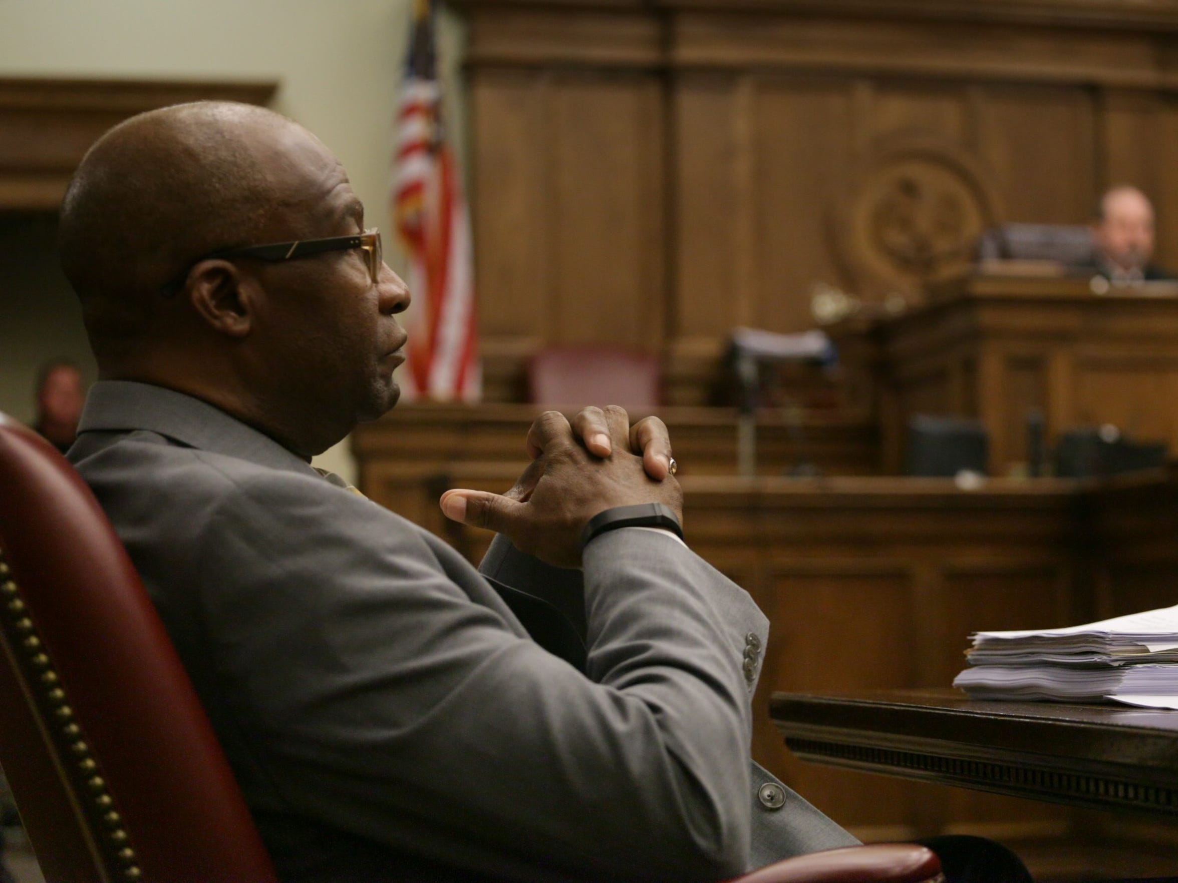 Hattiesburg Mayor Johnny DuPree listens to the proceedings Thursday in Forrest County Circuit Court. DuPree was cited by Special Judge L. Breland Hilburn for failing to bring administrative nominees forward in a timely fashion for City Council confirmation.