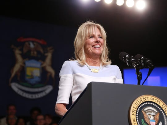 Second Lady Jill Biden speaks to a crowd before introducing President Barack Obama at Macomb Community College in Warren during a visit to Michigan on Wednesday September 9, 2015.
