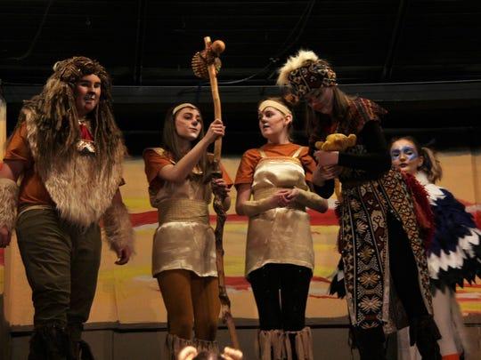 "Josiah Gross, Rachelle Snyder, Allie Norman and Jayden Hendershott rehearse a scene from ""The Lion King Jr."""