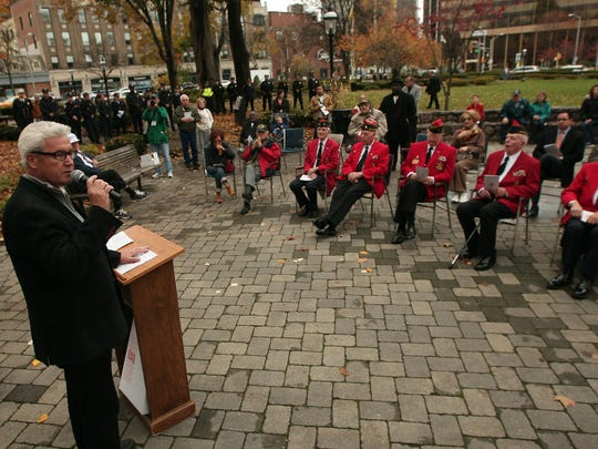 Mayor of Morristown, Tim Dougherty speaks during the Memorial and Veterans Day Association of Morristown and Morris Twp's Veteran's Day ceremonies on the Morristown Green. November 11, 2015, Morristown, NJ.