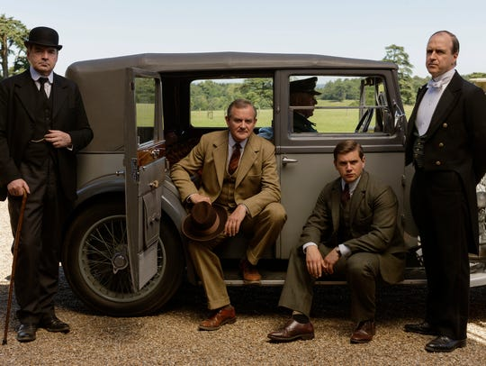 Shown from left to right: Brendan Coyle as Bates, Hugh