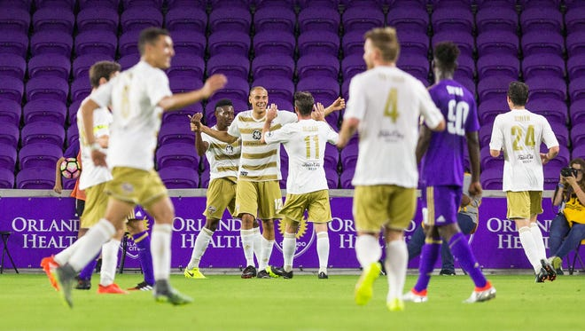 Luke Spencer and Louisville City celebrate his first goal in more than four years.
