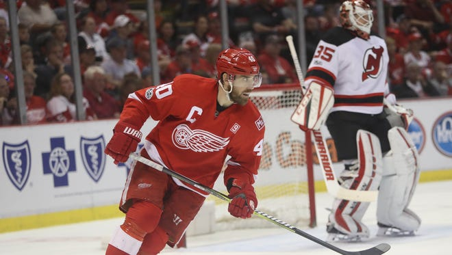 Red Wings captain Henrik Zetterberg skates against the Devils in the final game at Joe Louis Arena on Sunday, April 9, 2017.