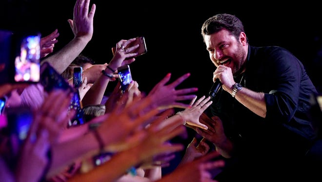 Chris Young performs at Nissan Stadium on the third day of CMA Fest 2017, on Saturday, June 10, 2017, in Nashville, Tenn.