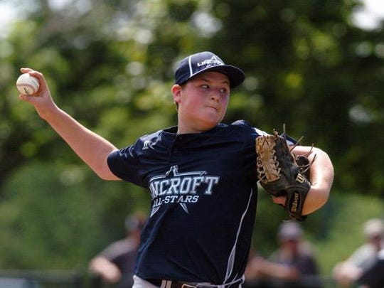 Ben Shields pitches for Lincroft as Middletown faced Lincroft in the District 19 Little League Final at Michael J. Tighe Park in Freehold on Saturday.