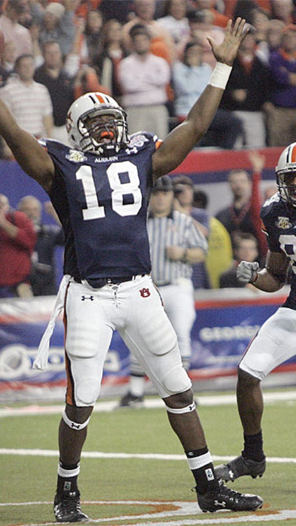Kodi Burns, who is now in his second season as wide receiver coach at his alma mater, celebrating the game-winning touchdown in overtime to win the 2007 Chick-fil-A Bowl over Clemson on New Year's Eve.