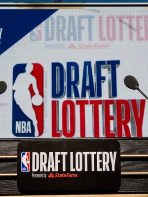 The podium with logos is seen prior to the 2018 NBA draft lottery at the Palmer House Hilton.