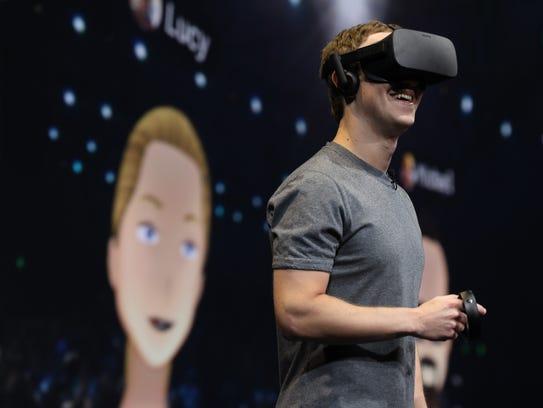 Mark Zuckerberg dons an Oculus Rift at Connect to interact