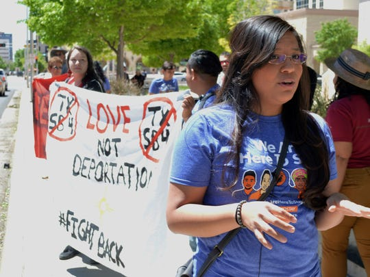 Yazmin Irazoqui Ruiz, 25, of Albuquerque, N.M., speaks