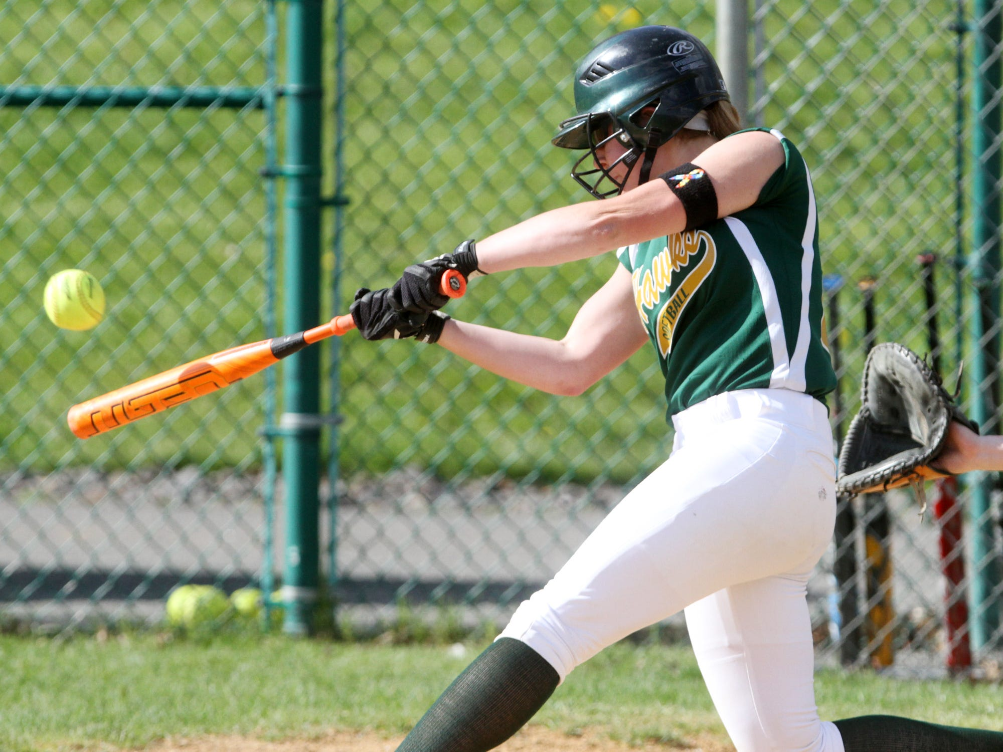 JP Stevens' Rebecca DiSerio strokes a two-run home run during the first inning against East Brunswick, Wednesday, April 29, 2015, in Edison, NJ.