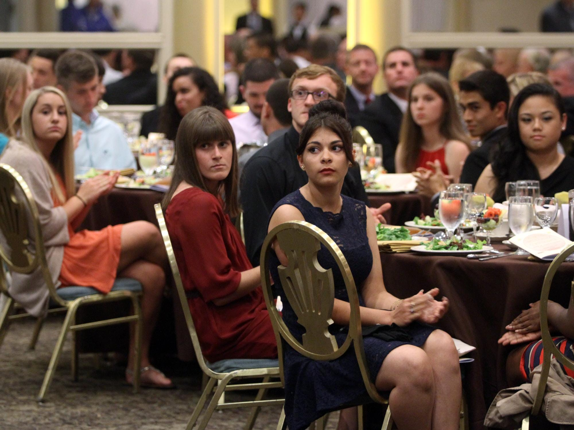 Greater Middlesex Conference athletes applaud during the GMC's annual Scholar Athlete Banquet, Monday, June 1, 2015, at the Pines Manor in Edison, NJ.