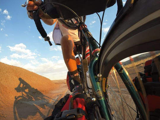 """Reno local Adam Bradley takes a """"selfie"""" portrait while on the """"Strange Loop,"""" an adventure that included hiking the Pacific Crest Trail, the Appalachian Trail and the Continental Divide trails contiguously while reaching each trail head by riding his bike."""