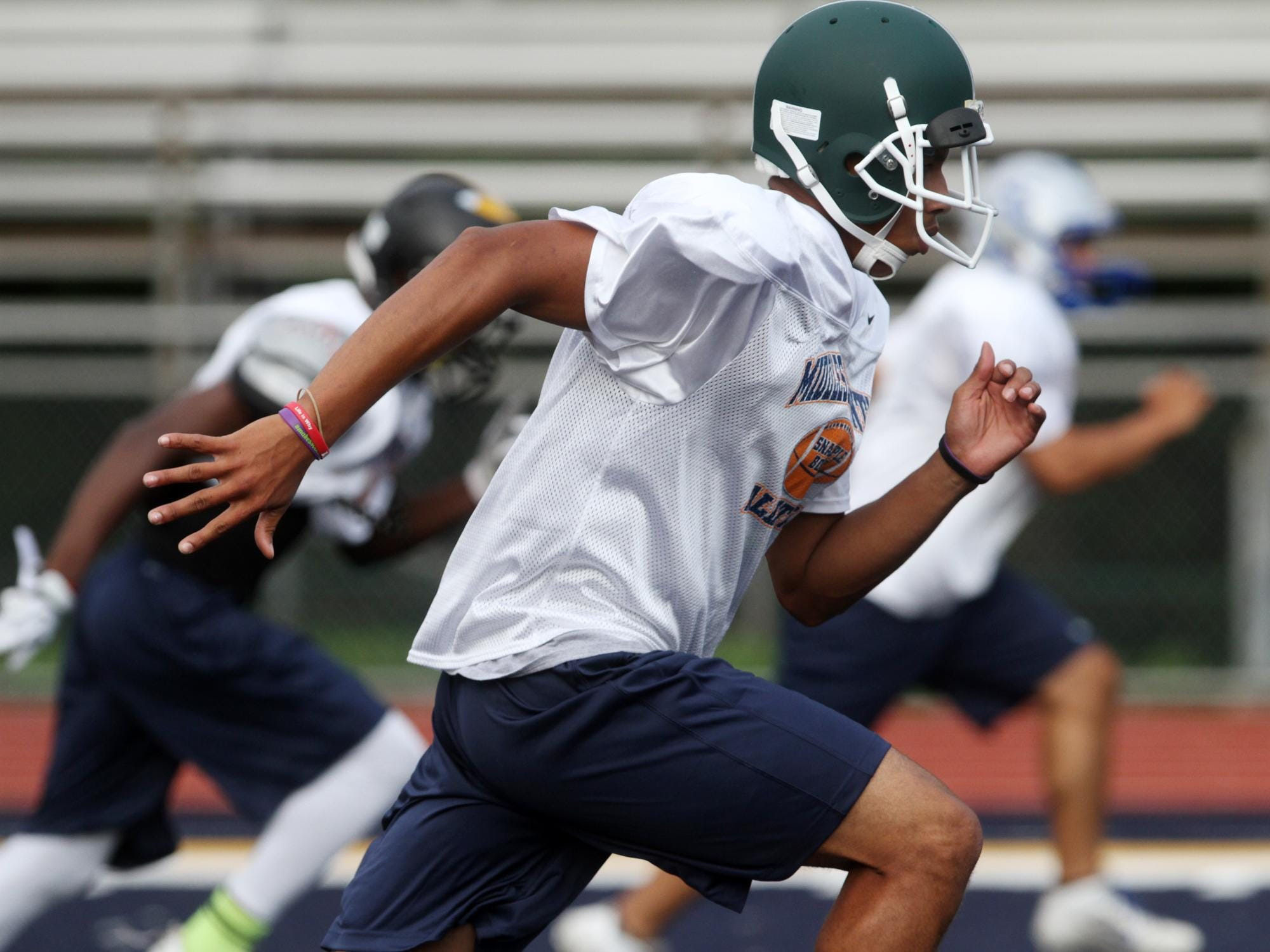 Javon Hicks of St Joseph works out during the opening practice for the Middlesex County all-star football players participating in the Snapple Bowl, Monday, July 6, 2015, at Colonia High School in Woodbridge, NJ.