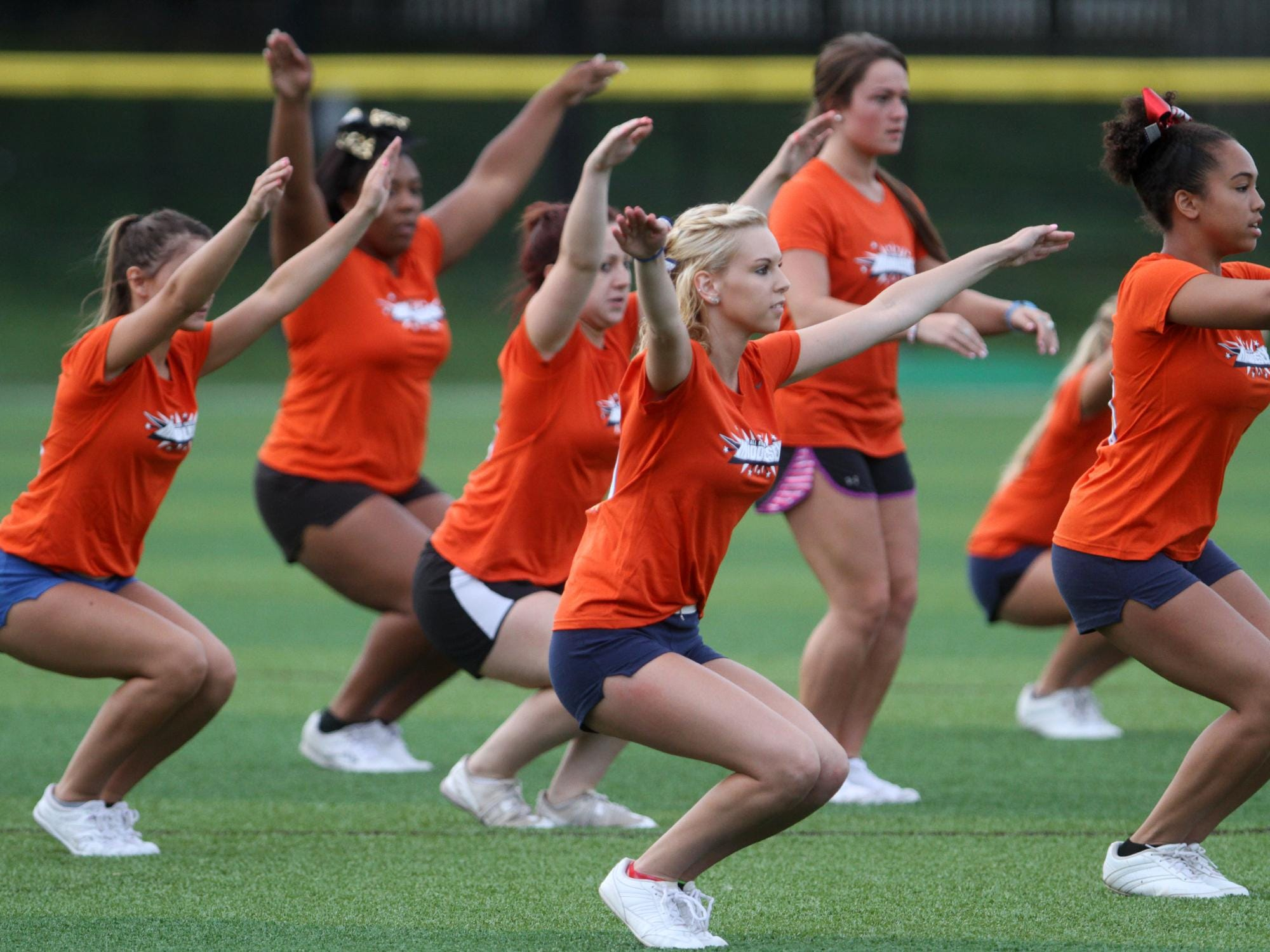 Middlesex County cheerleaders practice for the Snapple Bowl, Monday, July 6, 2015, at Colonia High School in Woodbridge, NJ.
