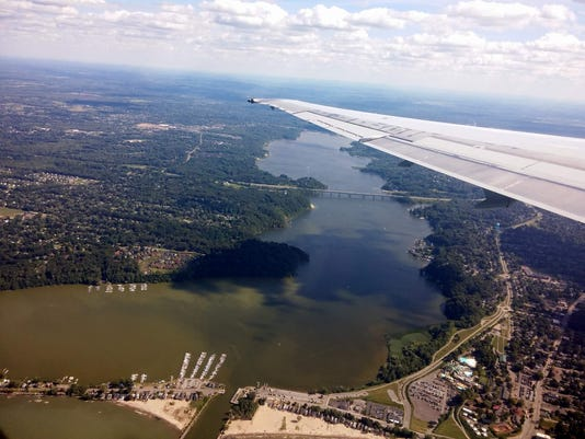 We were treated to this beautiful view of our hometown Webster as we approached the airport. Looking south from the north end of Irondequoit Bay. (M. Rosenberry)