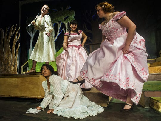 "Left to right, Hailey Letcher, Stephanie Avila, Morgan Merja and Siomarra Zendejas as Cinderella's stepmother and sisters torment her during the ""Into the Woods"" dress rehearsal Tuesday."