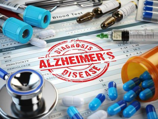 Alzheimers disease diagnosis. Stamp, stethoscope, syringe, blood