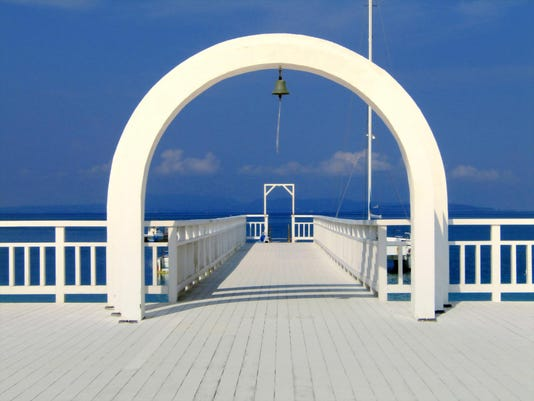 White gate and pier