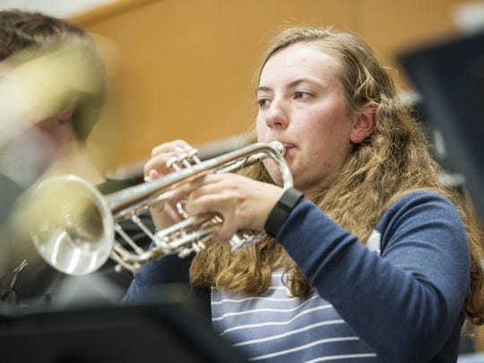 Great Falls High senior Kayla Slavik plays trumpet in her jazz band class Wednesday afternoon. She will be participating in the All State Music Festival performance Friday, Oct. 21.
